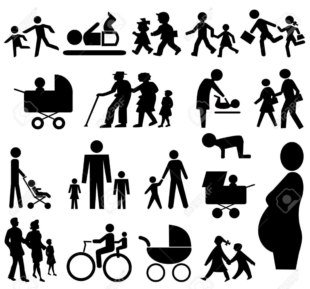 assorted  silhouettes pram, grand parents pregnant woman Stock Photo - 3559048