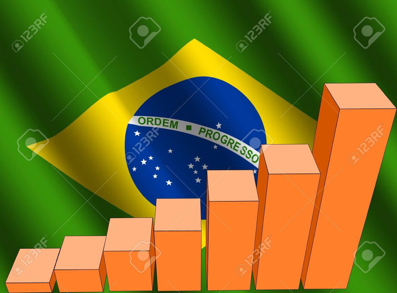 bar chart and rippled Brazilian flag illustration Stock Photo - 3575416