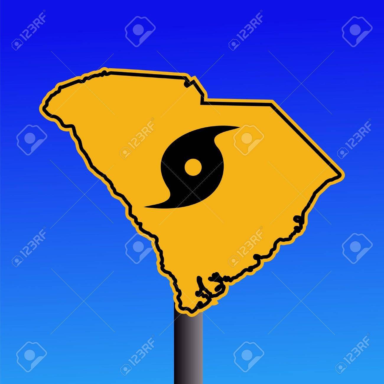 South Carolina Warning Sign With Hurricane Symbol On Blue