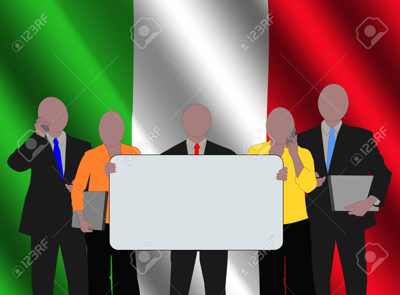 Italy business team with rippled flag illustration Stock Photo - 3636095