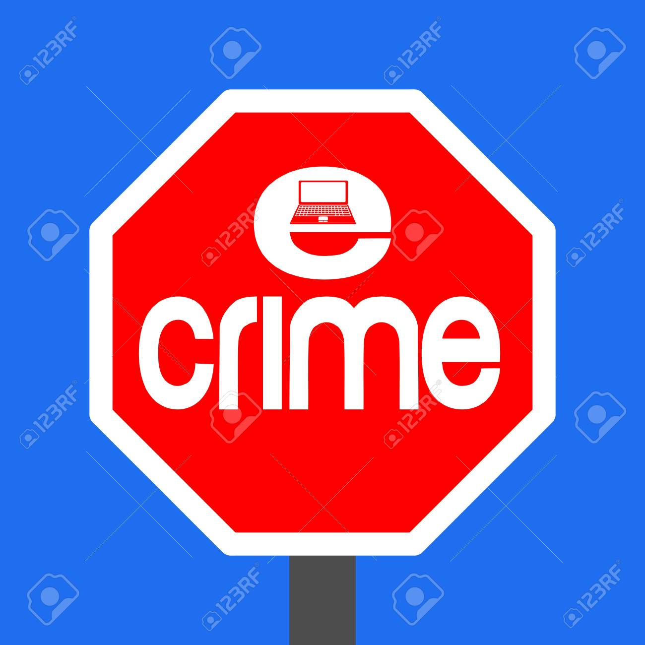 stop e-crime with laptop sign illustration Stock Illustration - 3959260