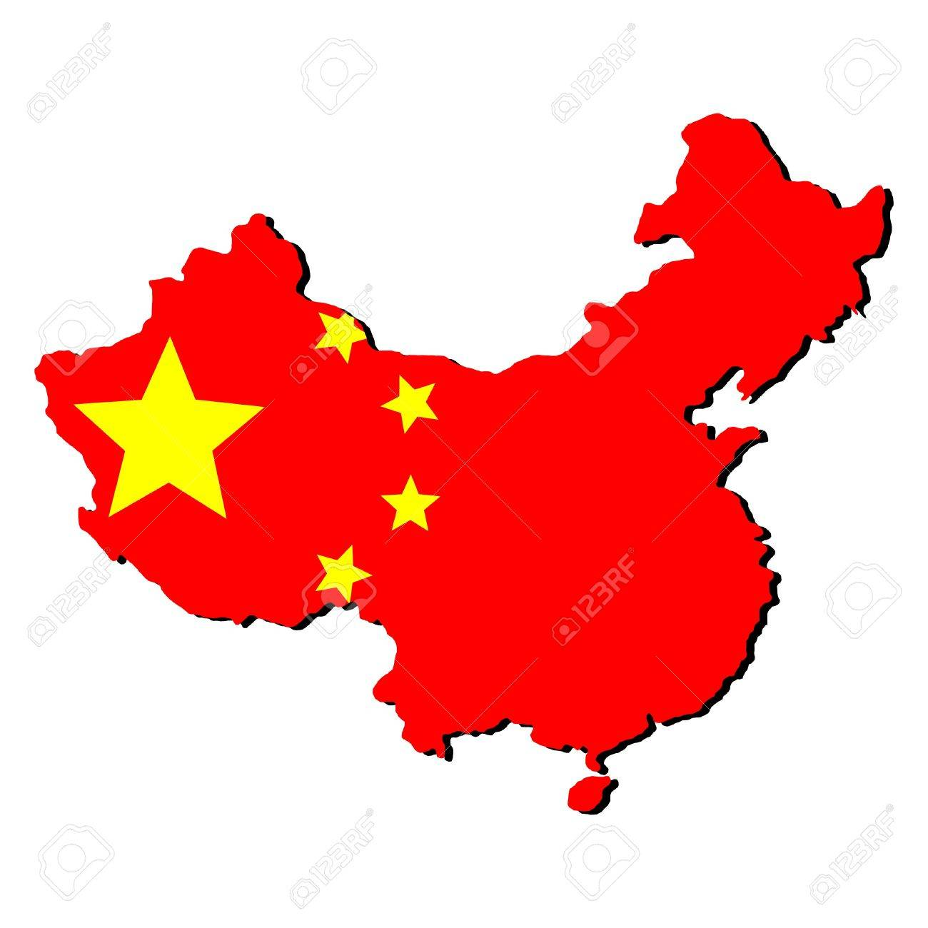 China Map Pictures.Map Of China And Chinese Flag Illustration Stock Photo Picture And