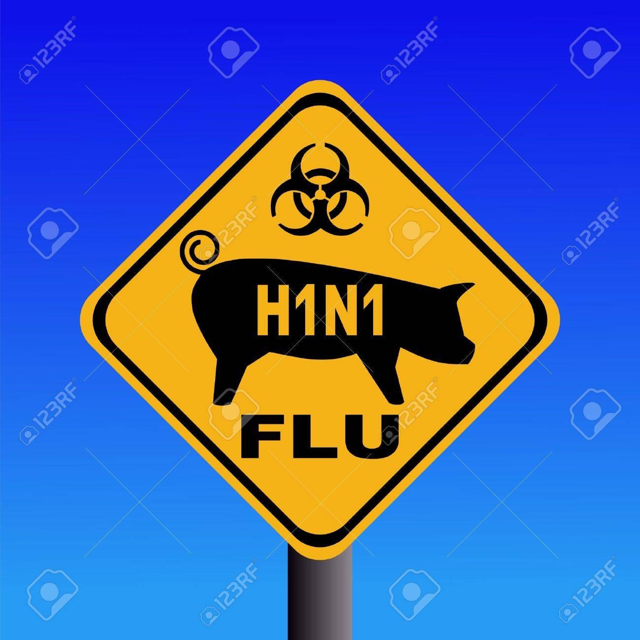 warning swine flu sign on blue illustration Stock Photo - 4771471