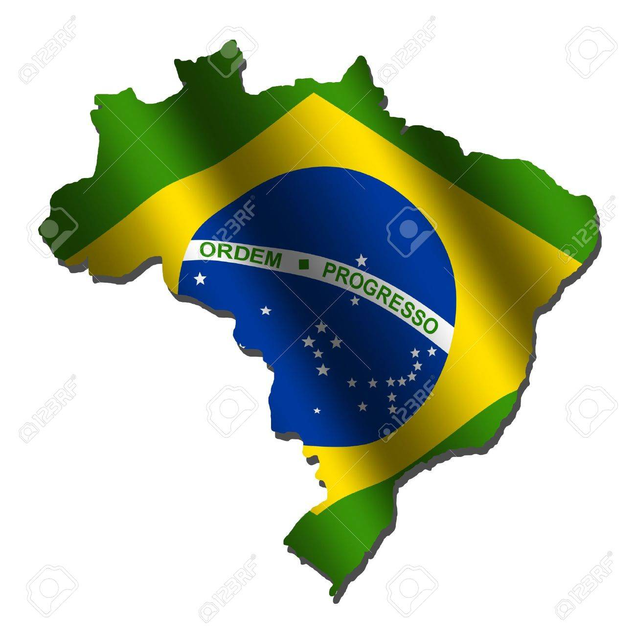 Brazil Map With Rippled Flag On White Illustration Stock Photo - Brazil map