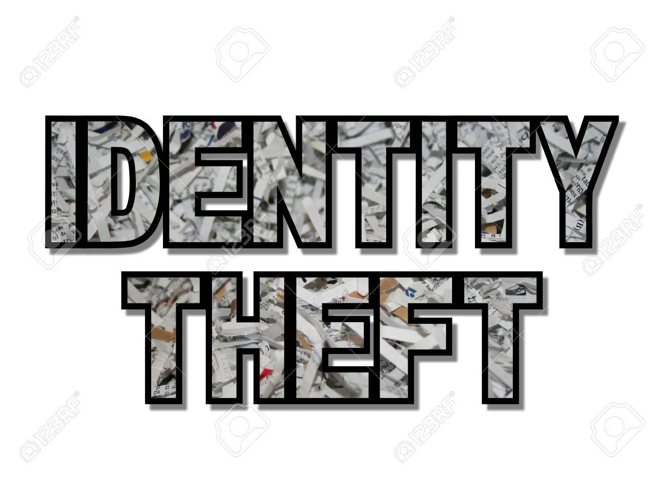 Identity theft text with shredded paper illustration Stock Illustration - 5056612