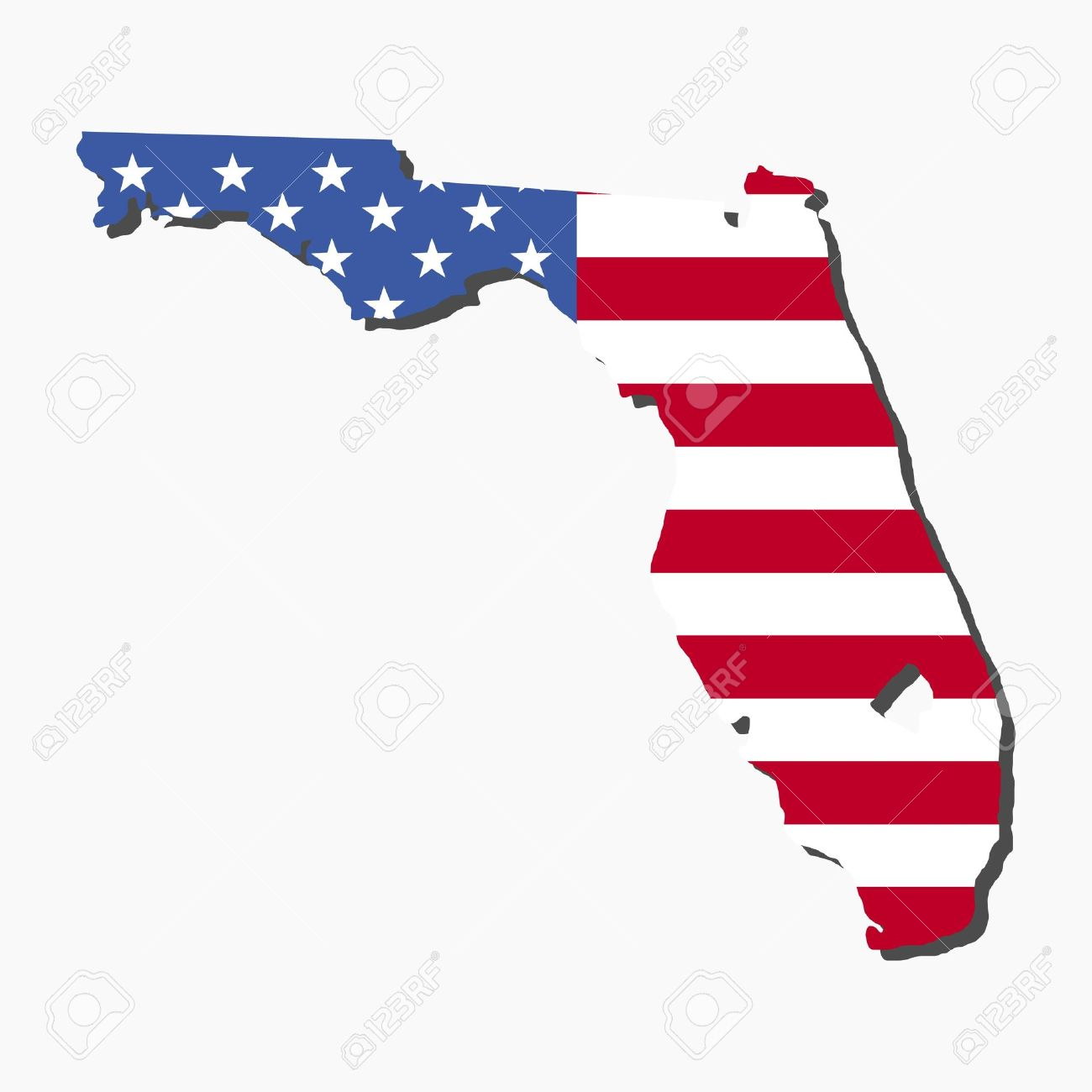 map of the state of florida and american flag illustration stock