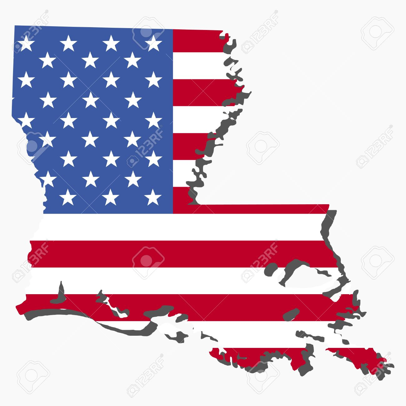 Map Of The State Of Louisiana And American Flag Illustration Stock - Us flag map
