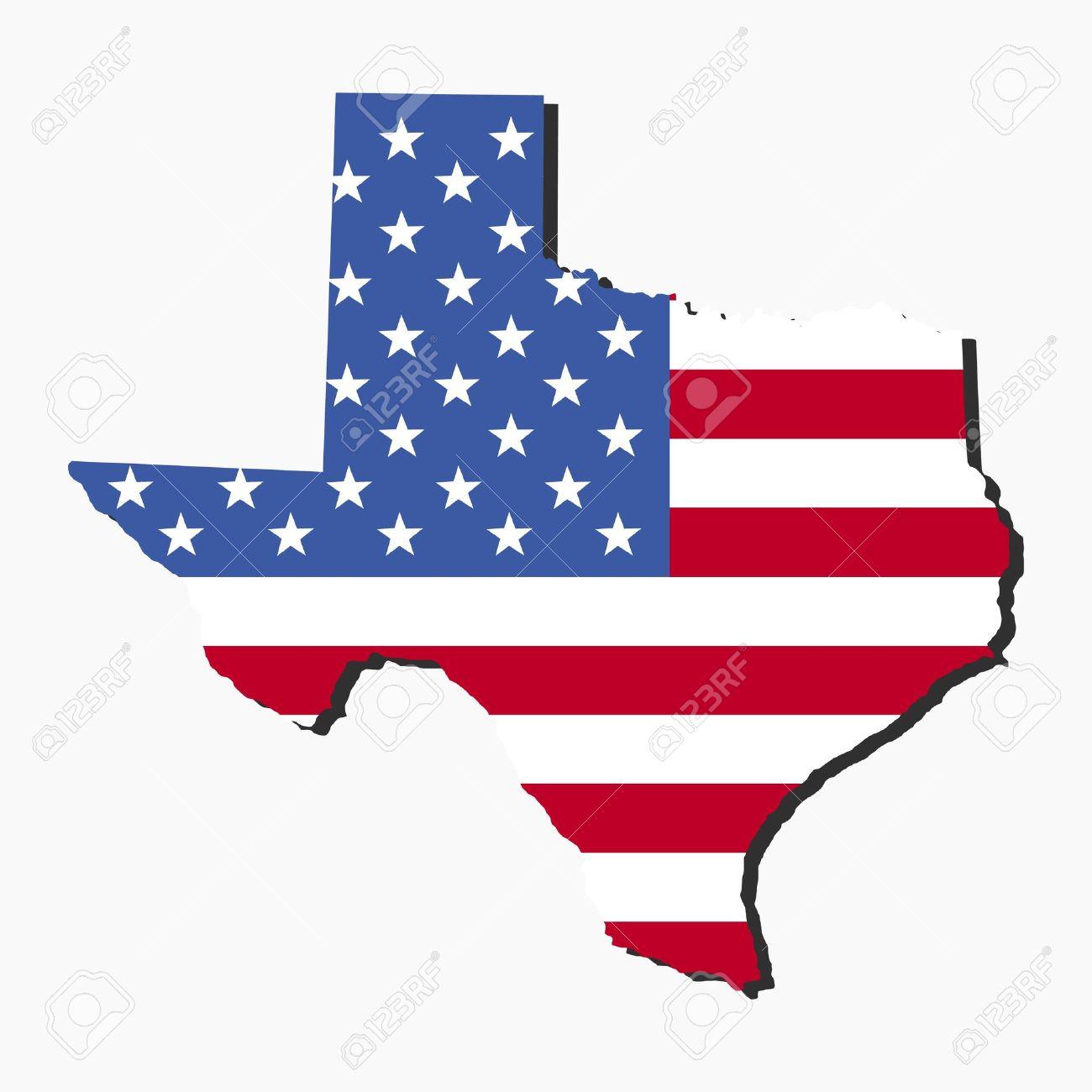 Mapa Del Estado De Texas Y La Bandera Americana Ilustración Fotos ...