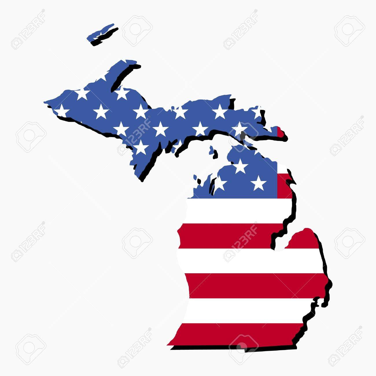 Map Of The State Of Michigan And American Flag Illustration Stock - Us map american flag