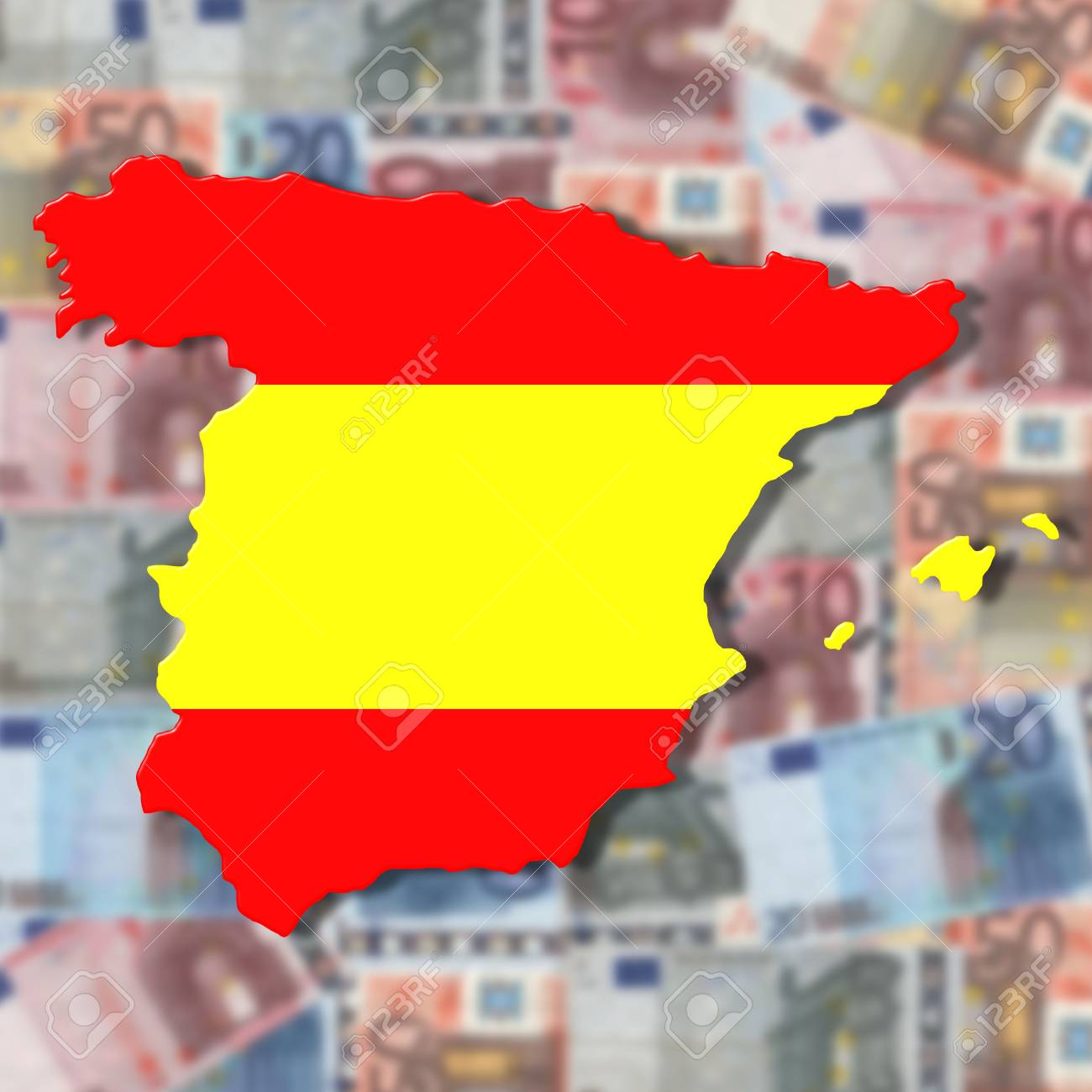Spain Map Flag.Spain Map Flag On Blurred Euro Currency Illustration