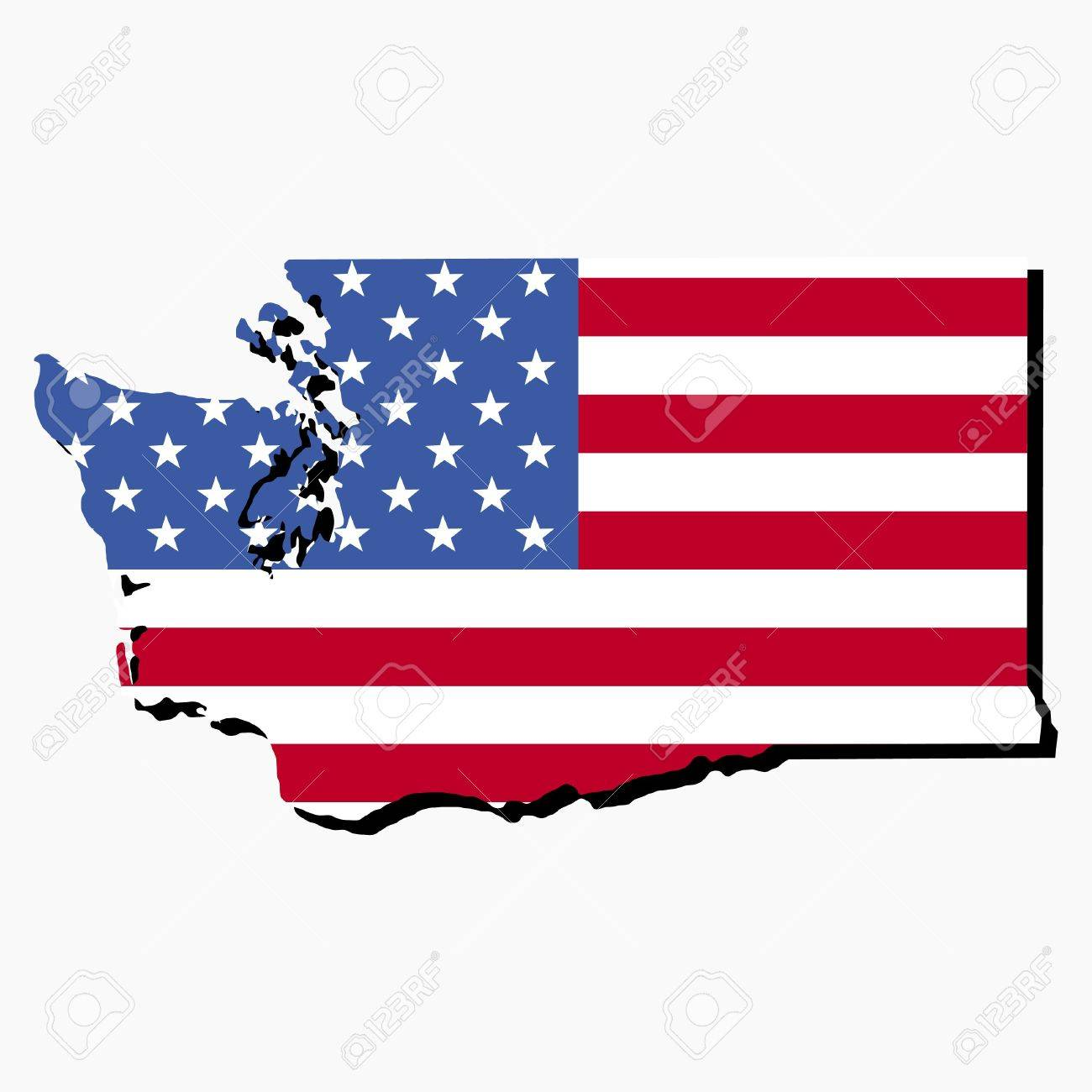 Map Of The State Of Washington And American Flag Illustration - Us map american flag
