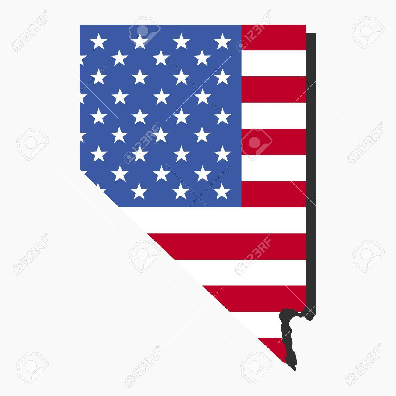 Map Of Nevada With American Flag Illustration Stock Photo Picture - Us map american flag