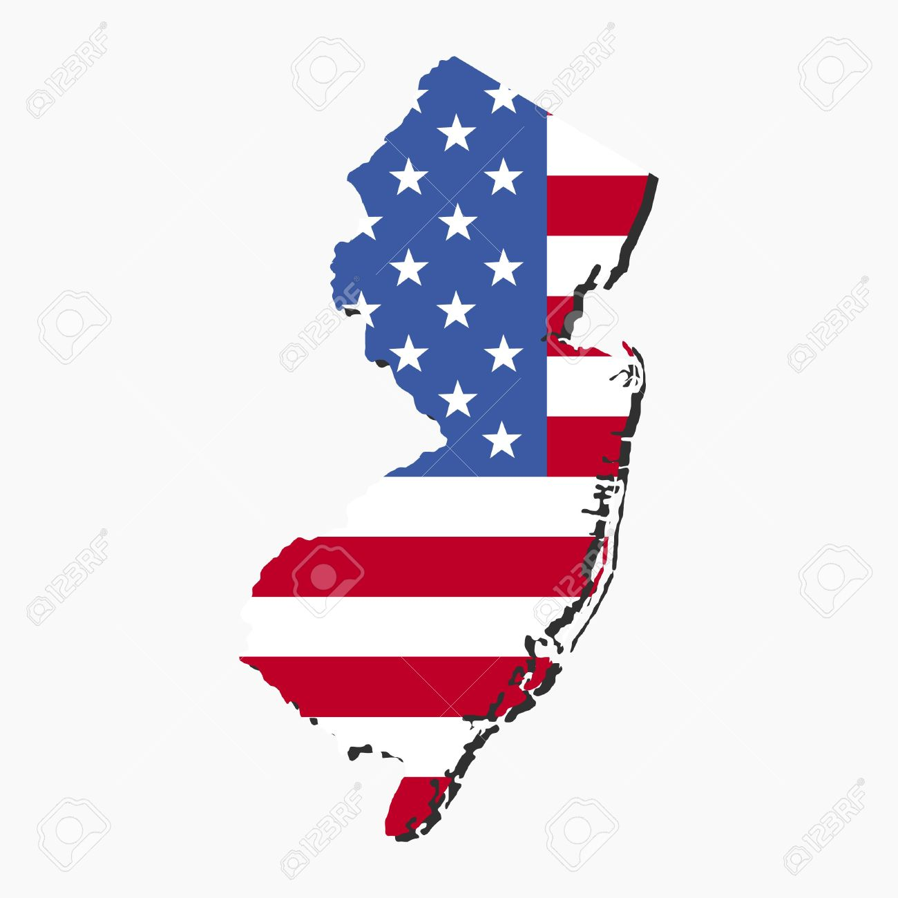 Map Of New Jersey With American Flag Illustration Stock Photo - Us map flag