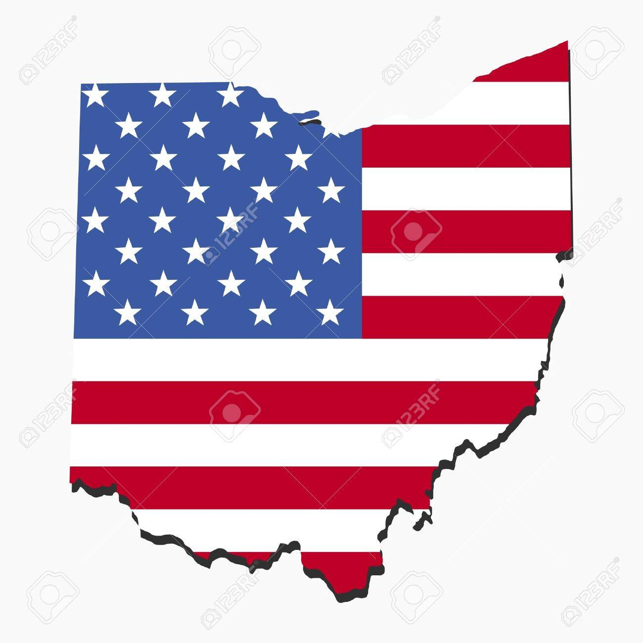 Map Of Ohio With American Flag Illustration Stock Photo Picture - Us map american flag
