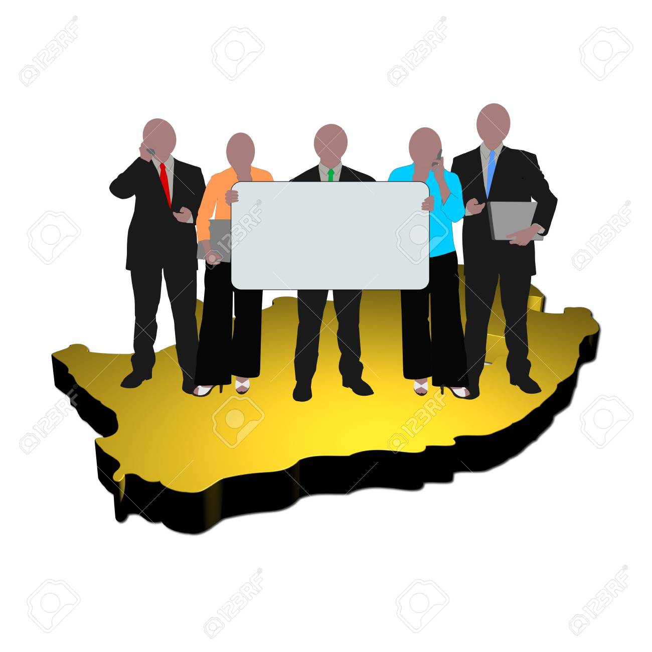 business team with sign on map of South Africa Stock Photo - 5307792