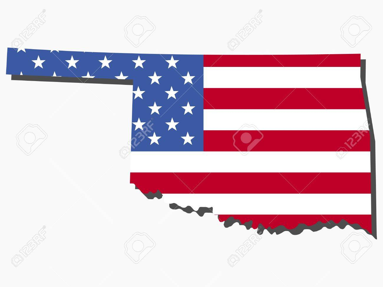 Map Of The State Of Oklahoma And American Flag Illustration Stock - Oklahoma on the us map
