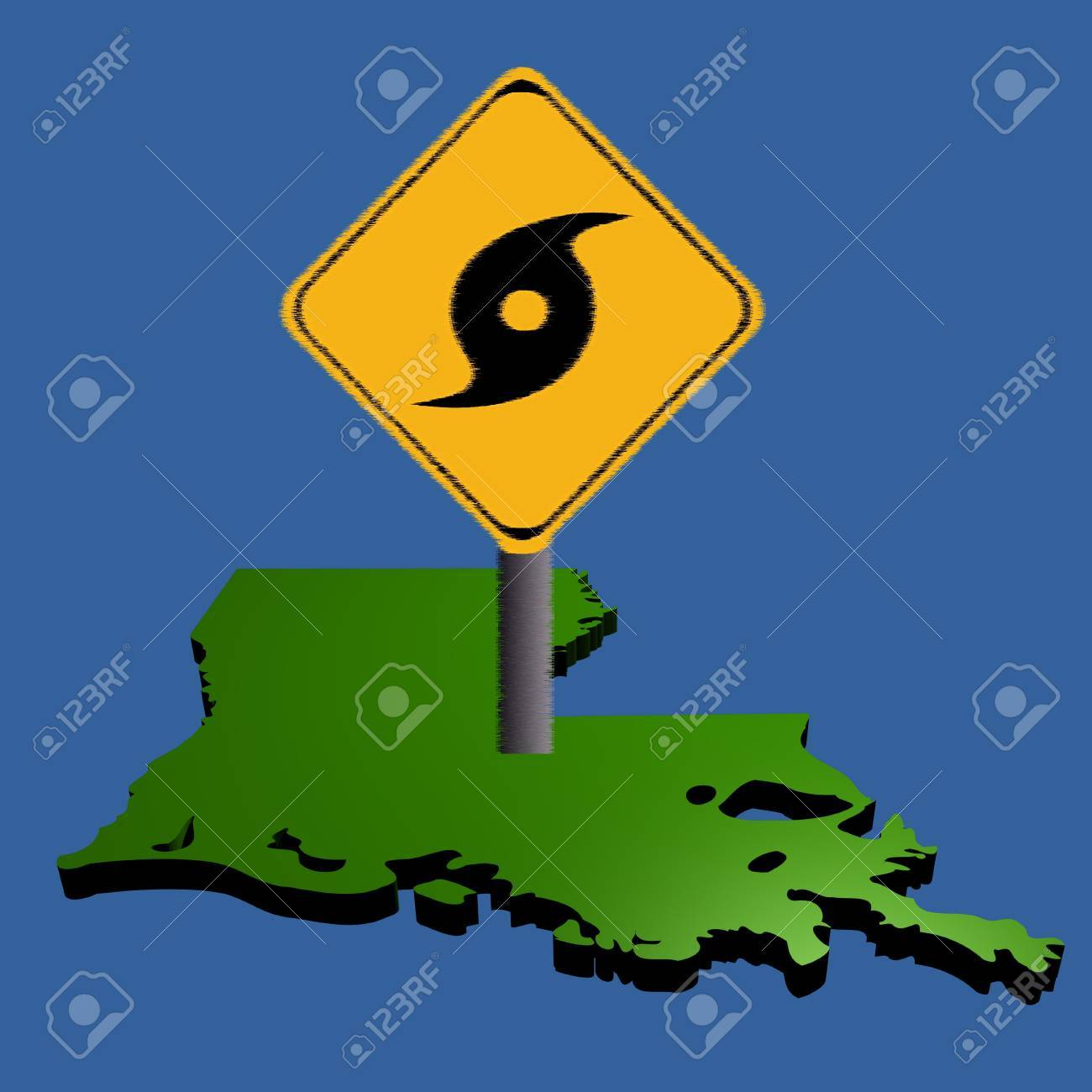 Louisiana Traffic Map.Hurricane Warning Sign On Louisiana Map Illustration Stock Photo