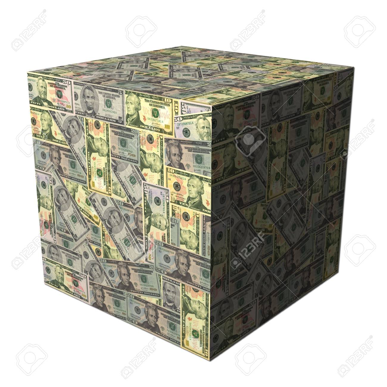 abstract cube covered in American dollars illustration Stock Illustration - 5391814