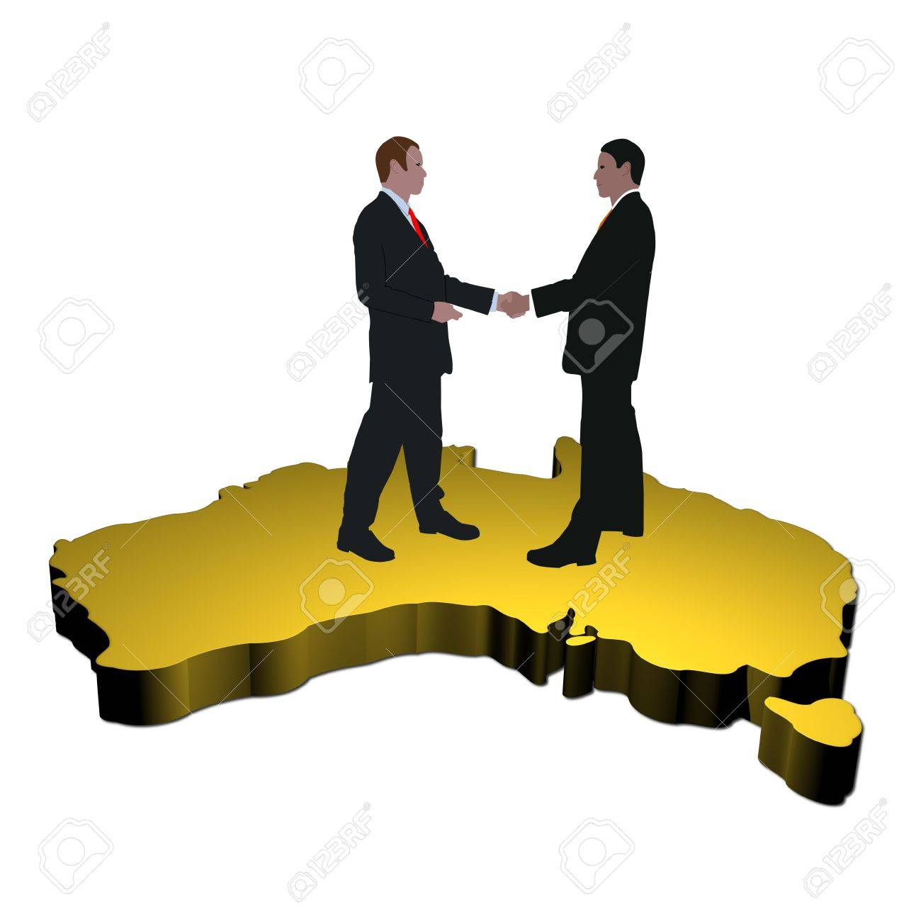 business men shaking hands on map of australia stock photo