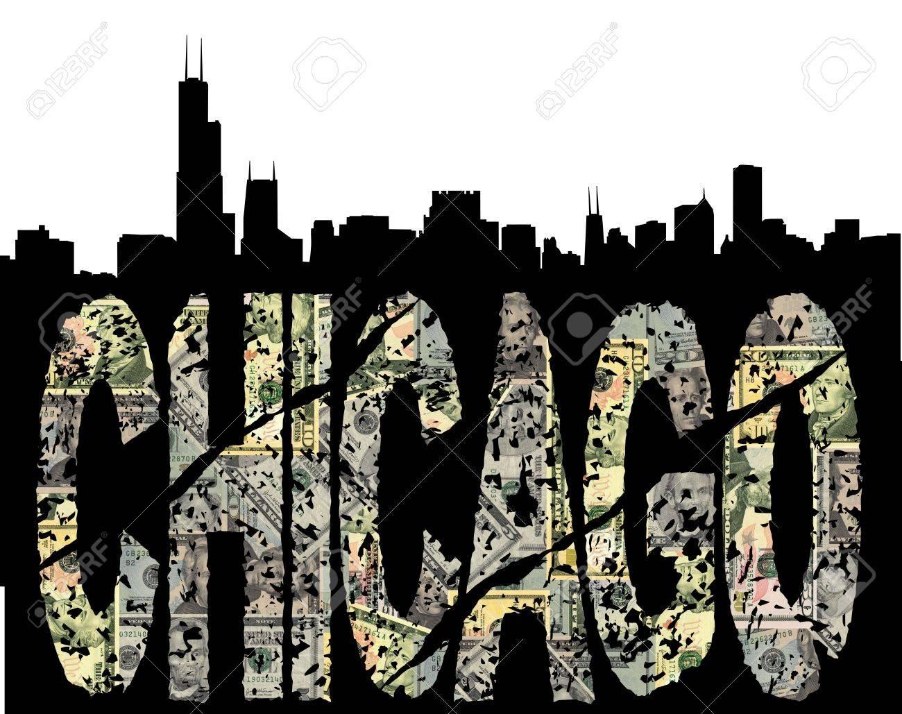 Chicago grunge dollar text with skyline illustration Stock Illustration - 5780296