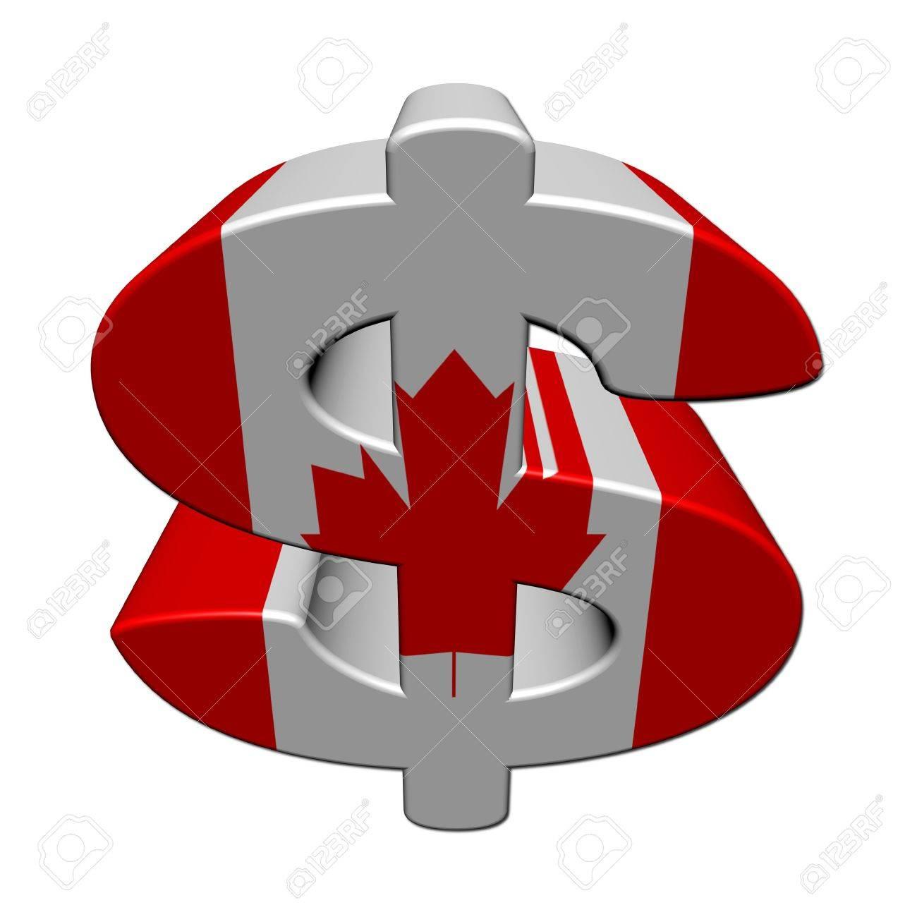 Canadian Dollar Symbol With Flag On White Illustration Stock Photo