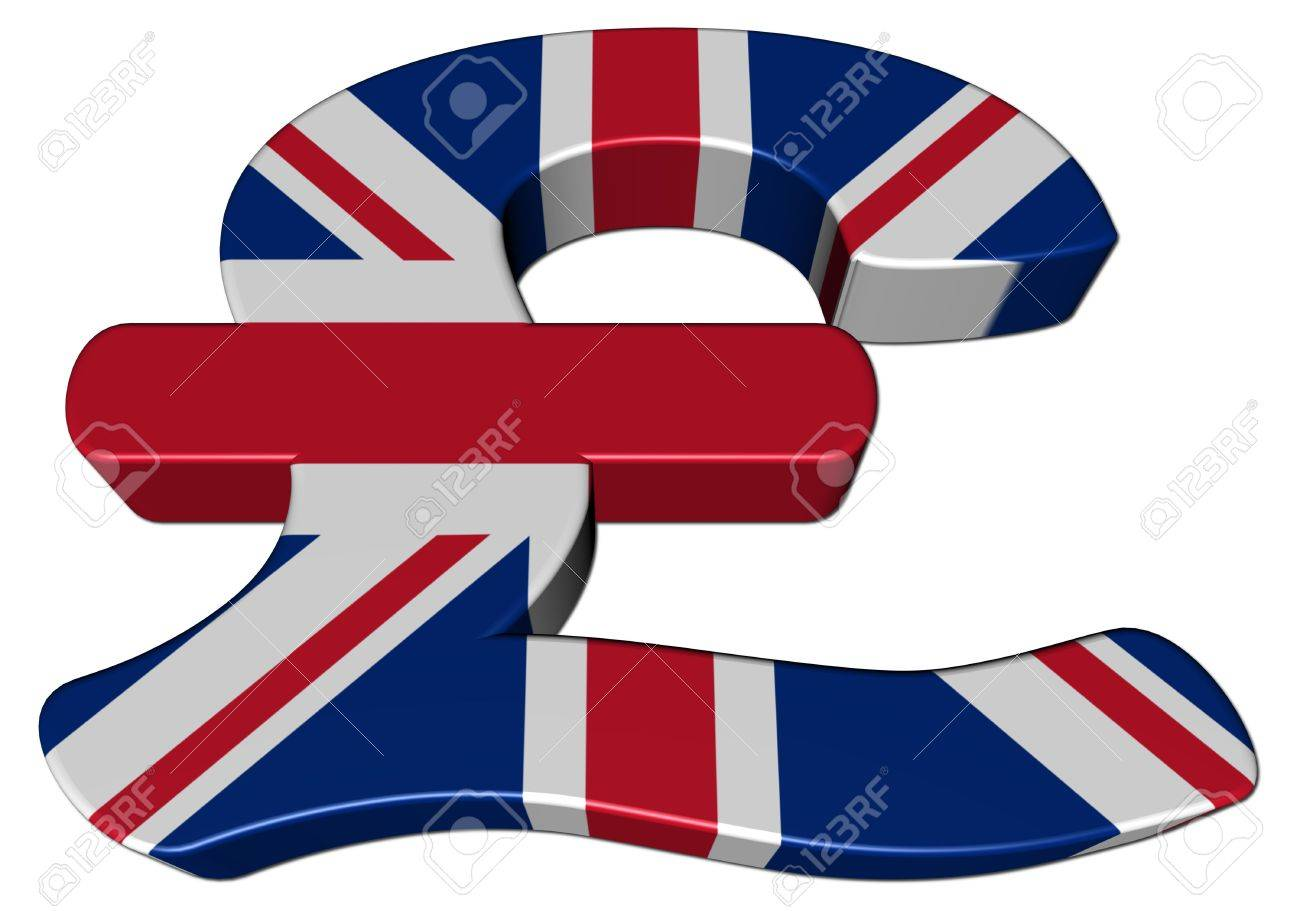 British Pound symbol with flag on white illustration Stock Photo - 6220360
