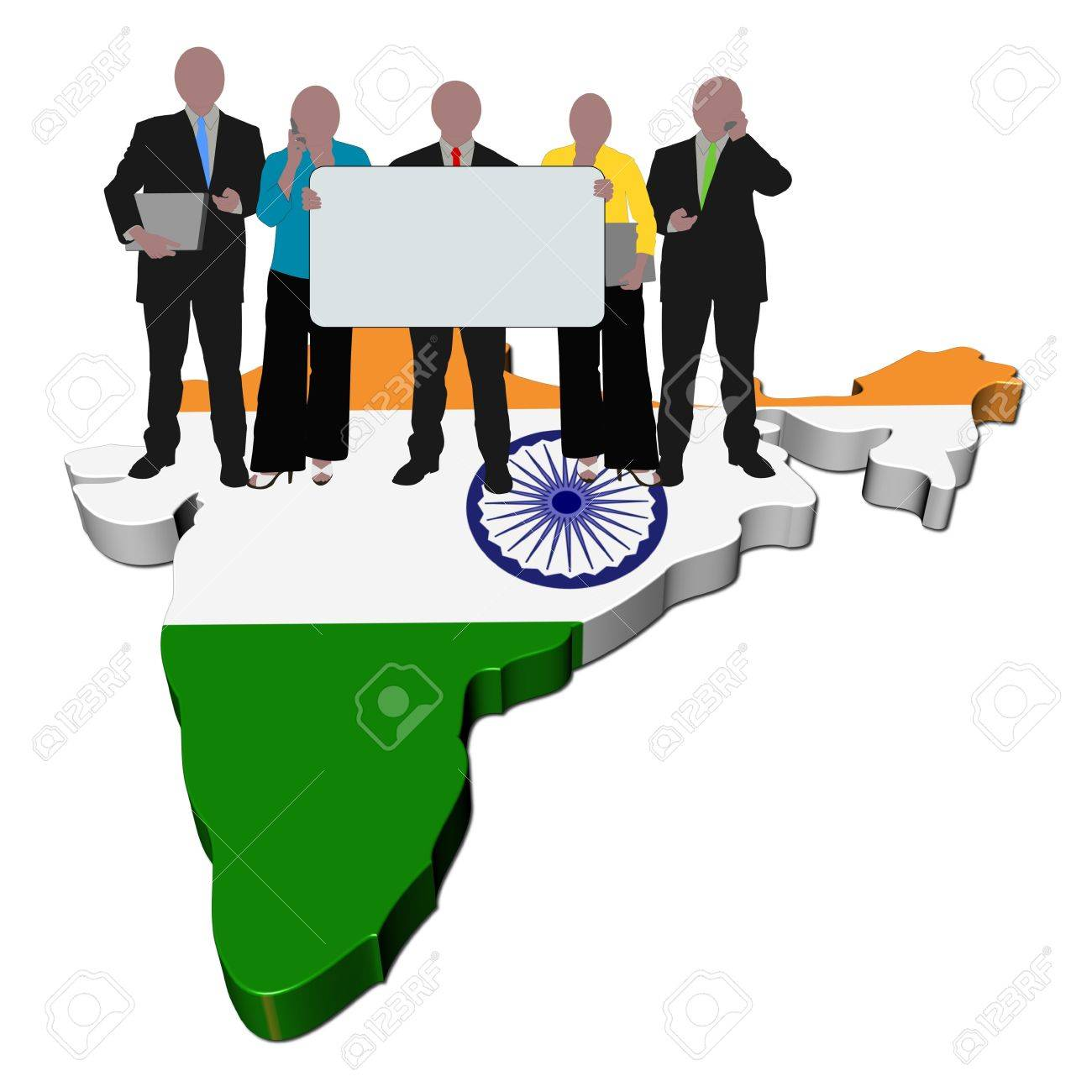 business team with sign on India map flag illustration Stock Illustration - 6316932