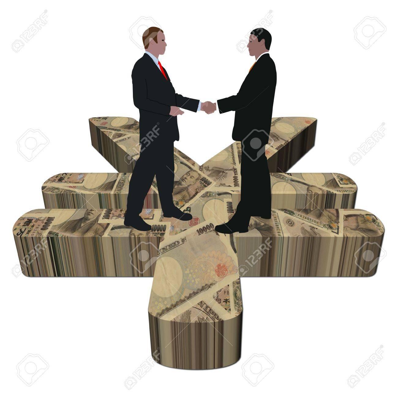 Business men meeting on giant japanese yen symbol illustration business men meeting on giant japanese yen symbol illustration stock illustration 6363202 biocorpaavc Choice Image