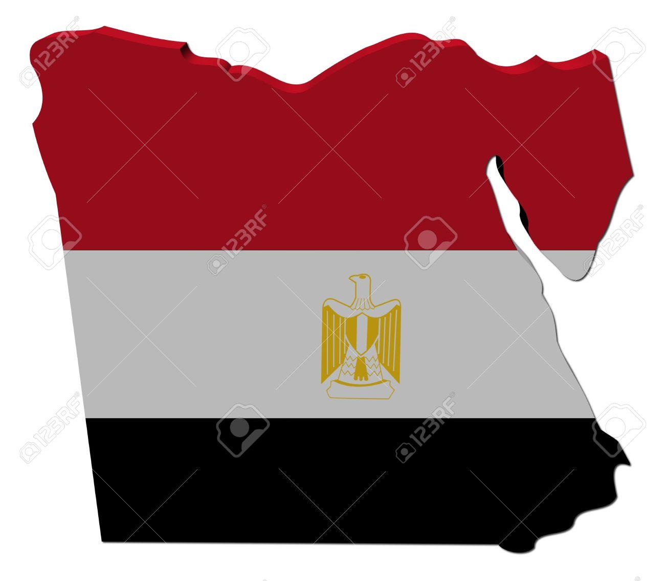 Egypt Map Flag D Render On White Illustration Stock Photo - Map of egypt 3d