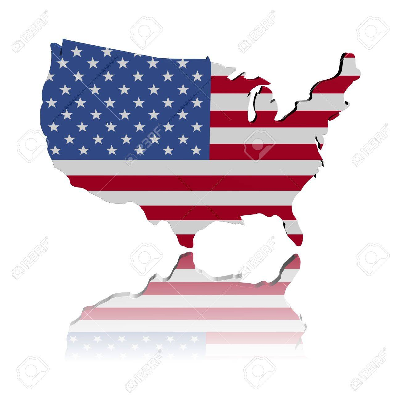 USA Map Flag 3d Render With Reflection Illustration Stock Photo ...