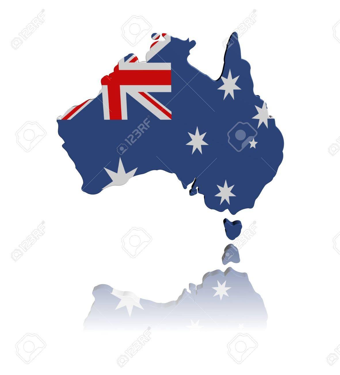 Australia Map And Flag.Stock Illustration