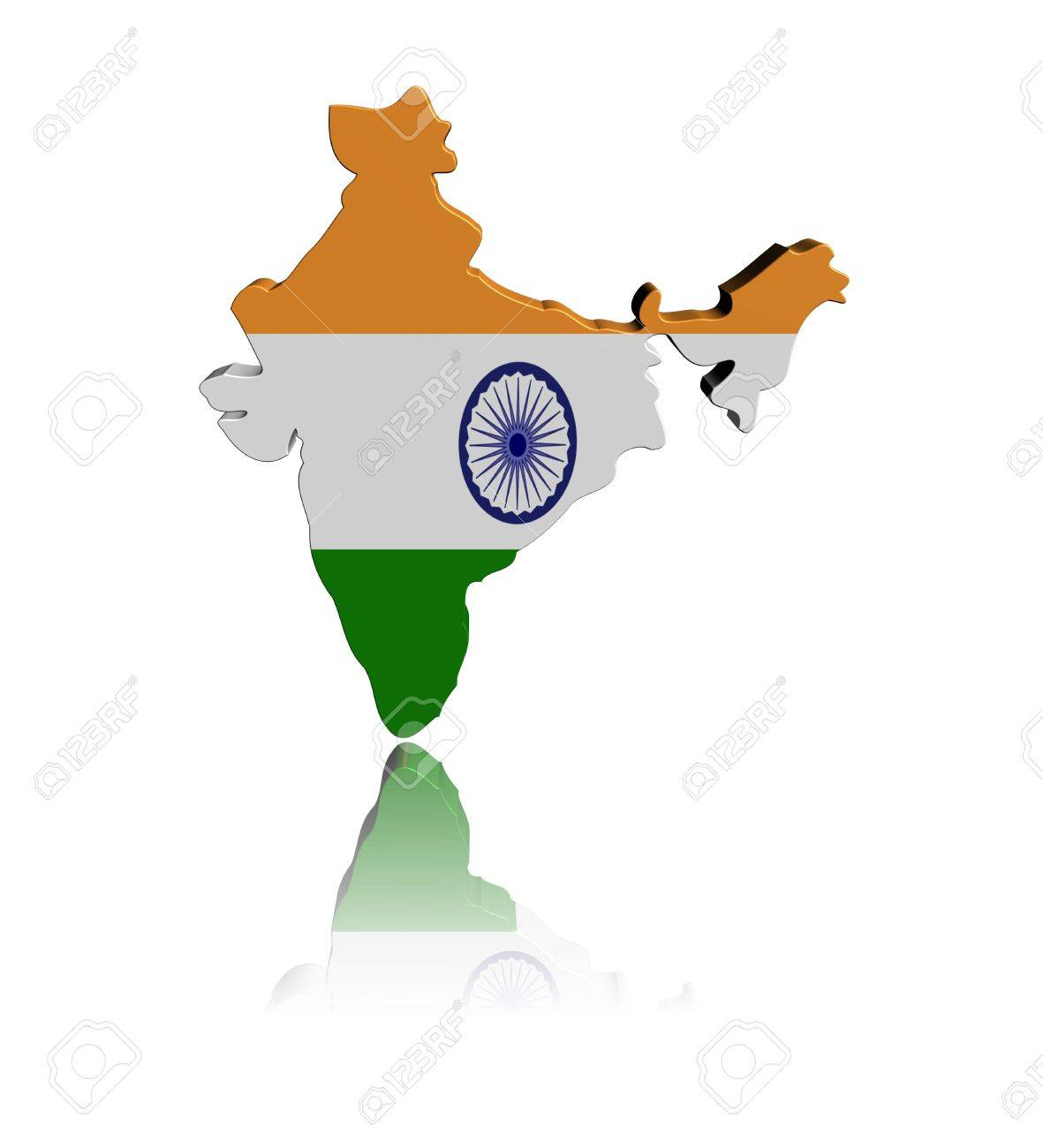 India Map Flag.India Map Flag 3d Render With Reflection Illustration Stock Photo