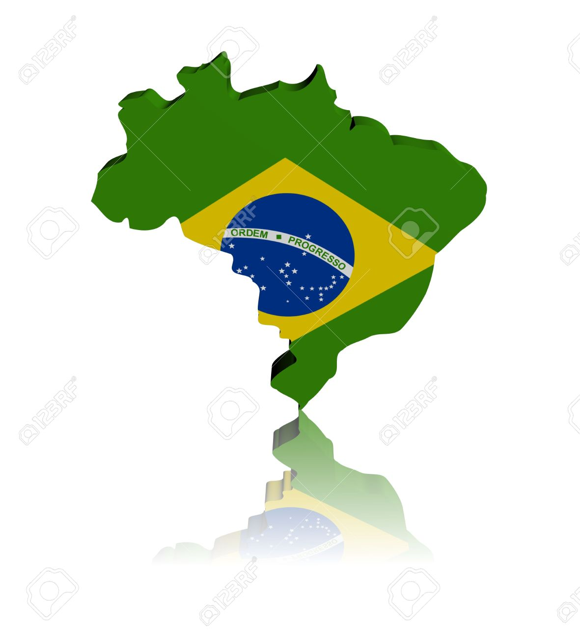 Brazil Map Flag D Render With Reflection Illustration Stock Photo - Brazil map illustration
