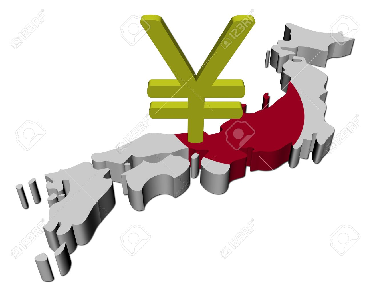 Japan Map Flag With Yen Symbol Illustration Stock Photo Picture - Japan map flag