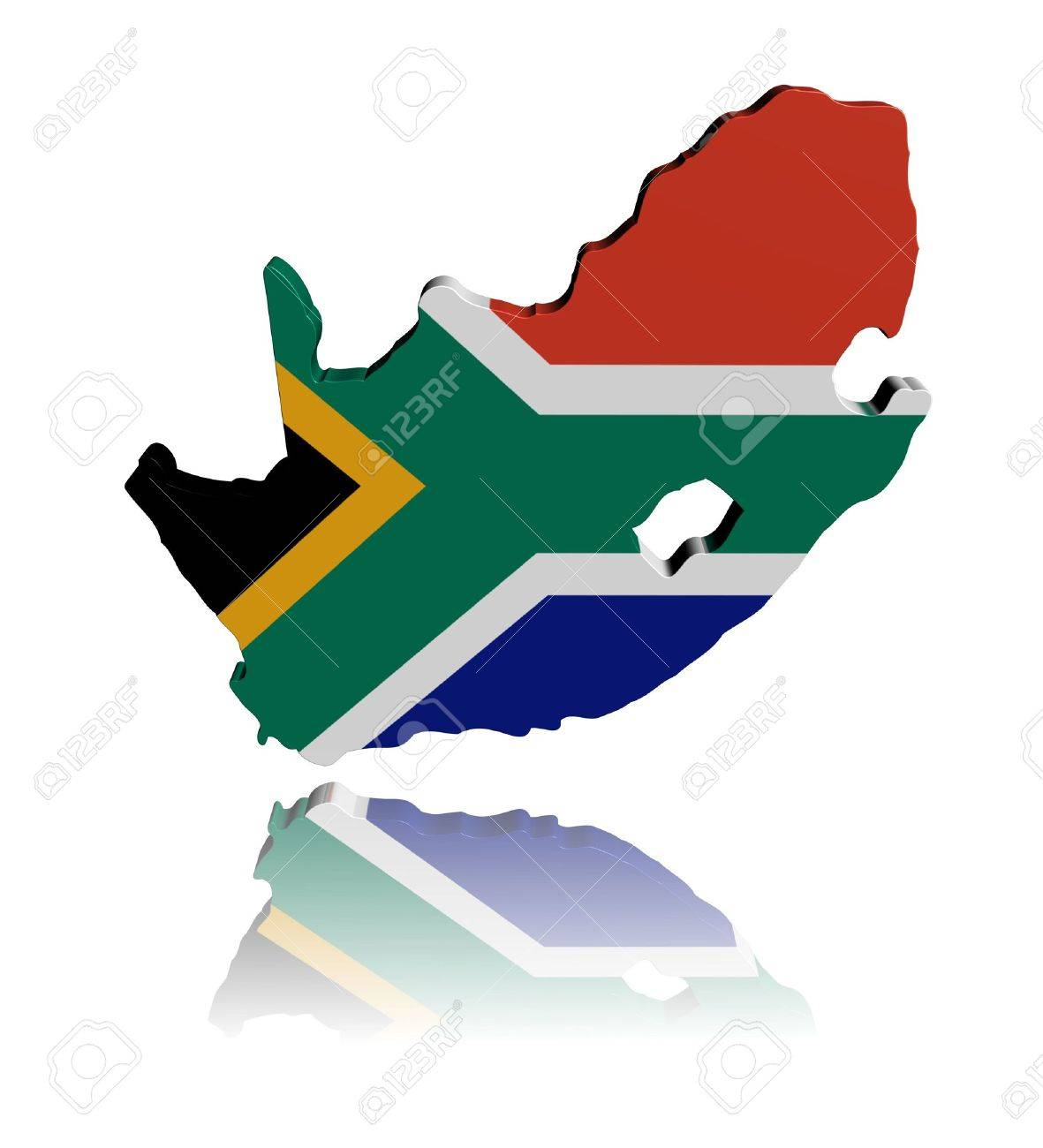 South Africa Map Flag 3d Render With Reflection Illustration Stock