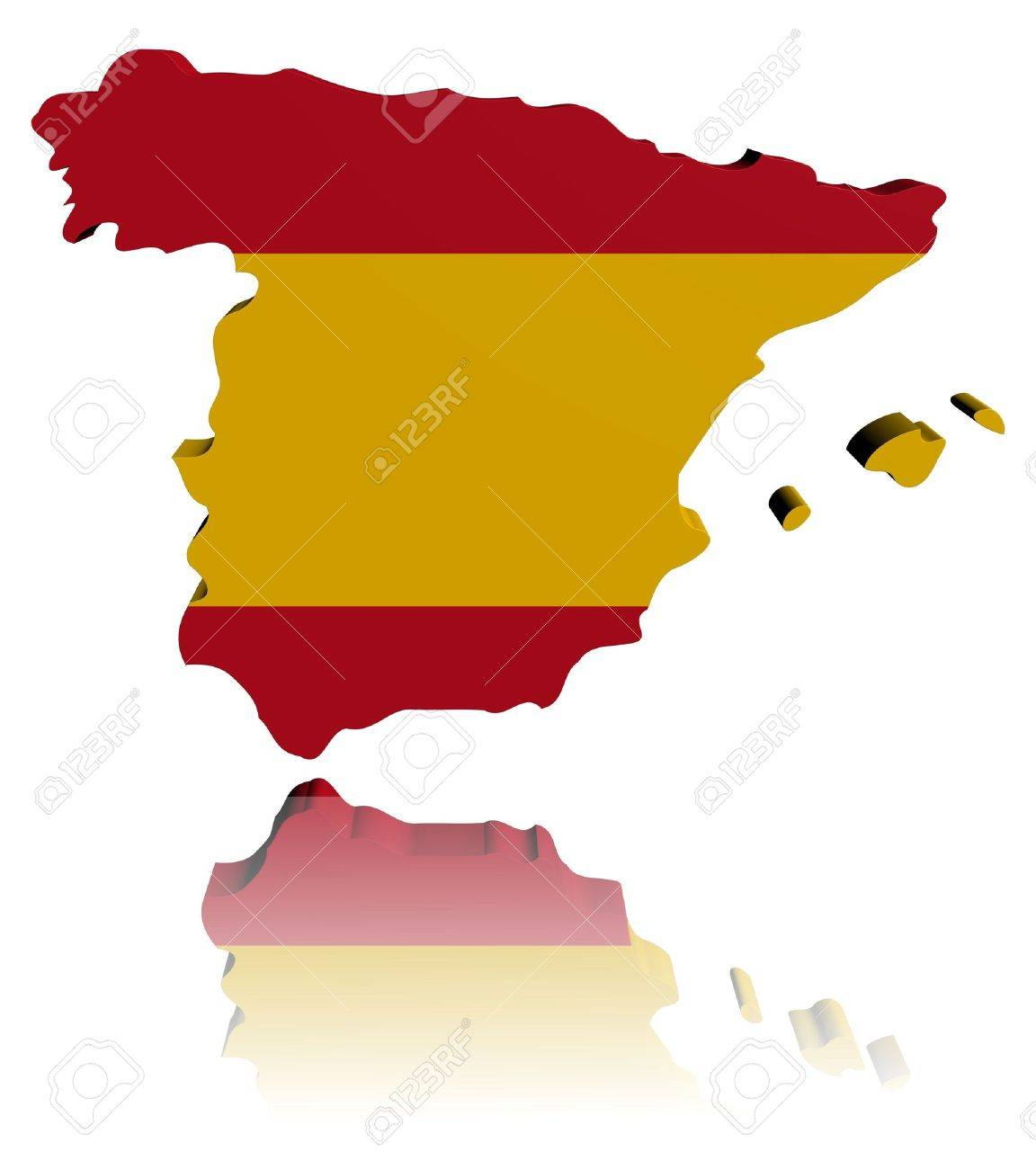 Spain Map Flag.Spain Map Flag 3d Render With Reflection Illustration