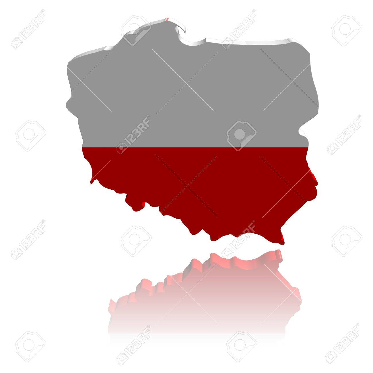 Poland Map Flag 3d Render With Reflection Illustration Stock Photo ...