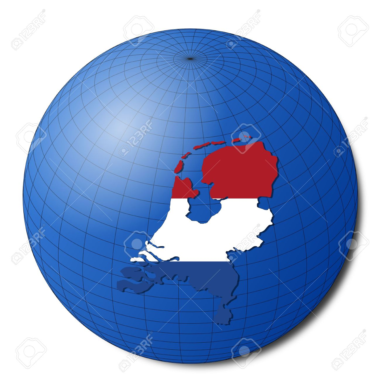 Netherlands Map Flag On Abstract Globe Illustration Stock Photo