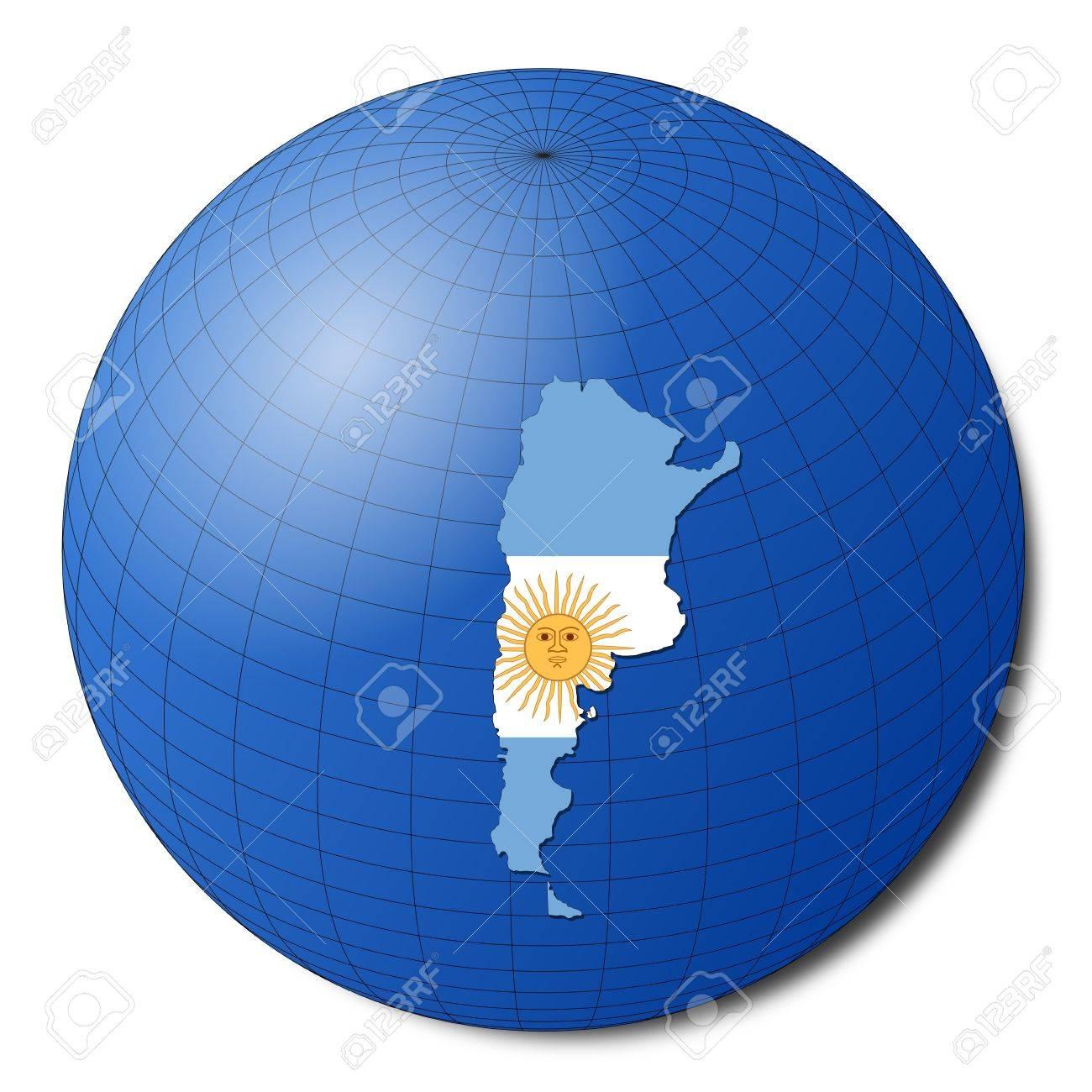Argentina Map Flag On Abstract Globe Illustration Stock Photo - Argentina globe map