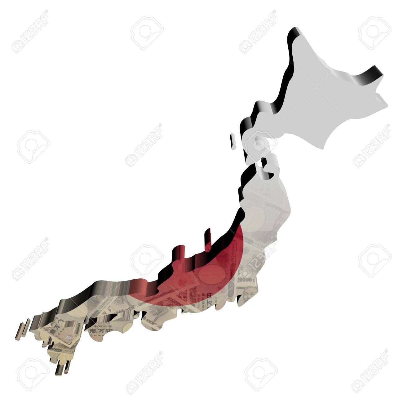 Japan Map Flag With Yen D Render Illustration Stock Photo - Japan map flag