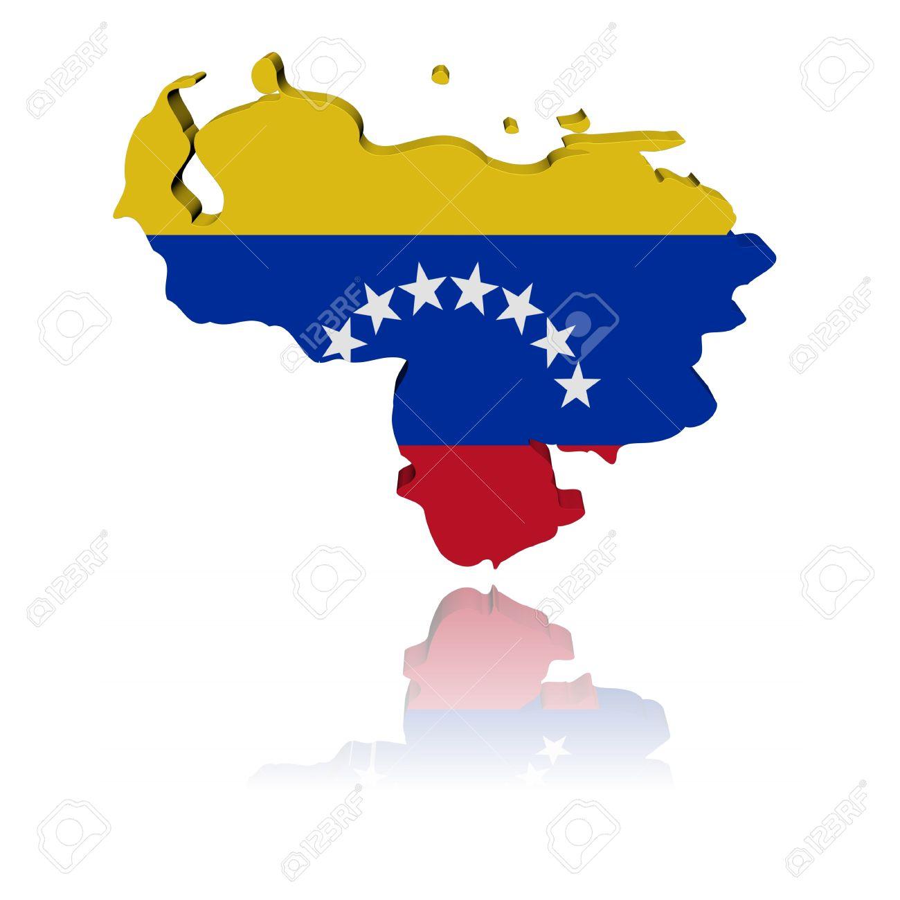 Venezuela Map Flag D Render With Reflection Illustration Stock - Venezuela map