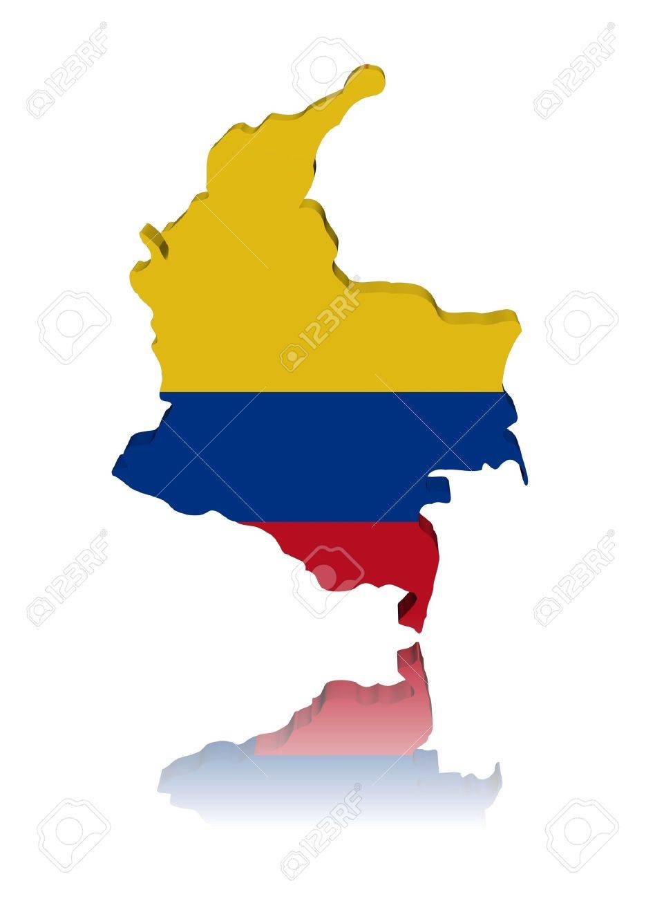 Colombia Map Flag 3d Render With Reflection Illustration Stock Photo