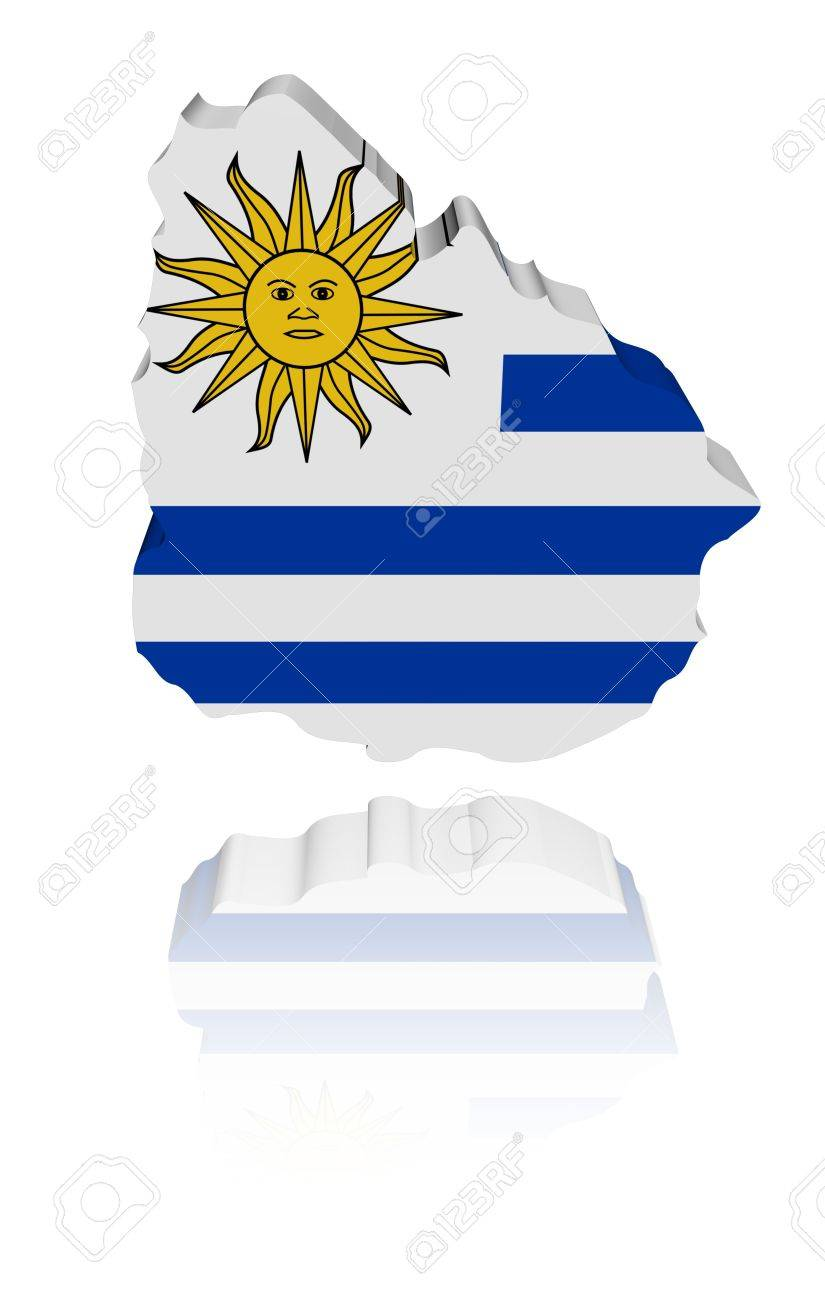 Uruguay map flag 3d render with reflection illustration Stock Illustration - 7297400