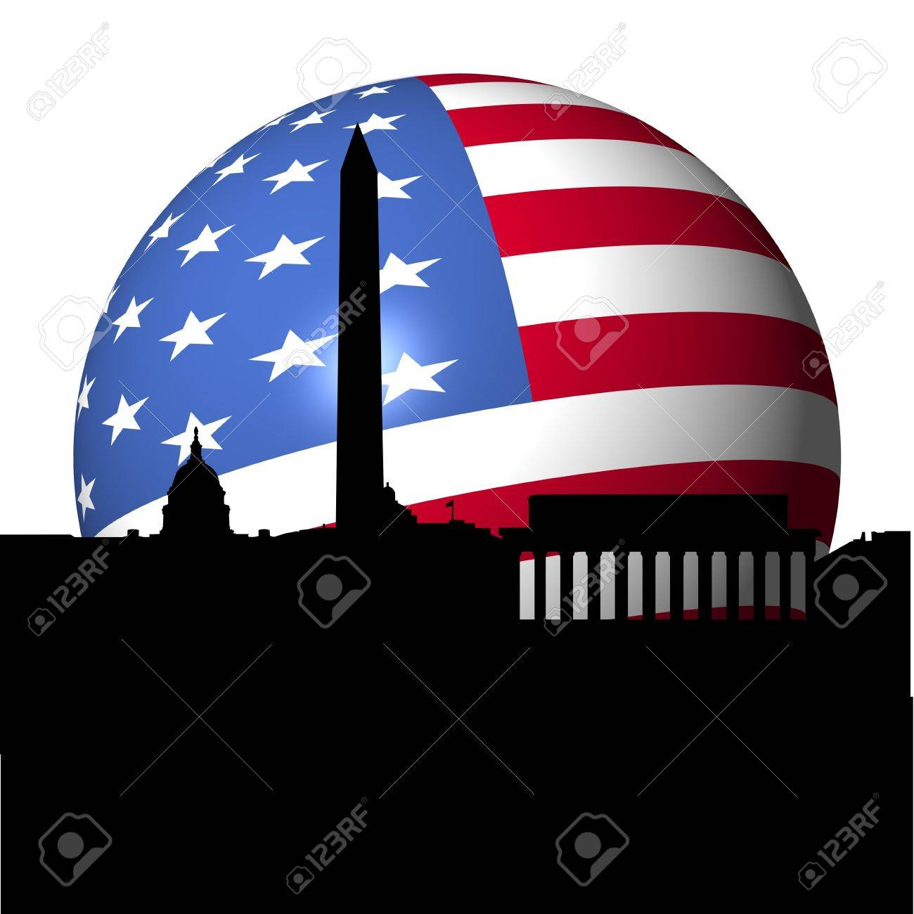 Washington DC skyline with American flag sphere illustration Stock Photo - 7625050
