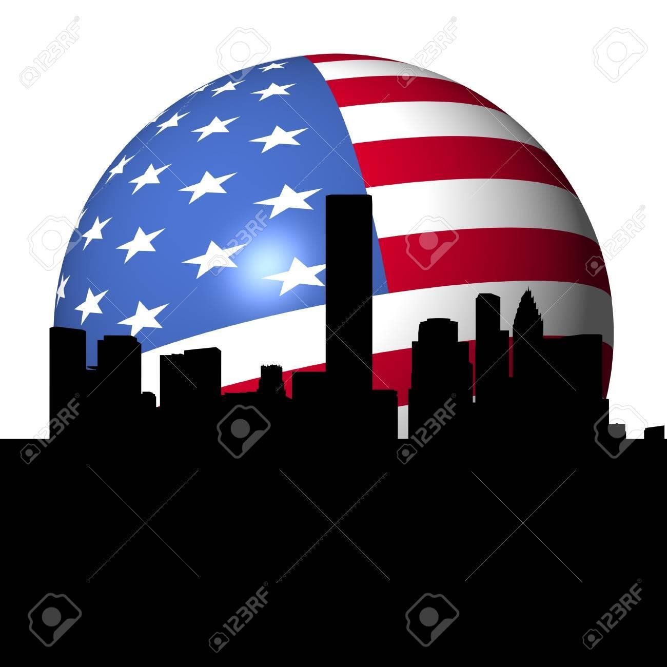 Houston skyline with American flag sphere illustration Stock Photo - 7661574