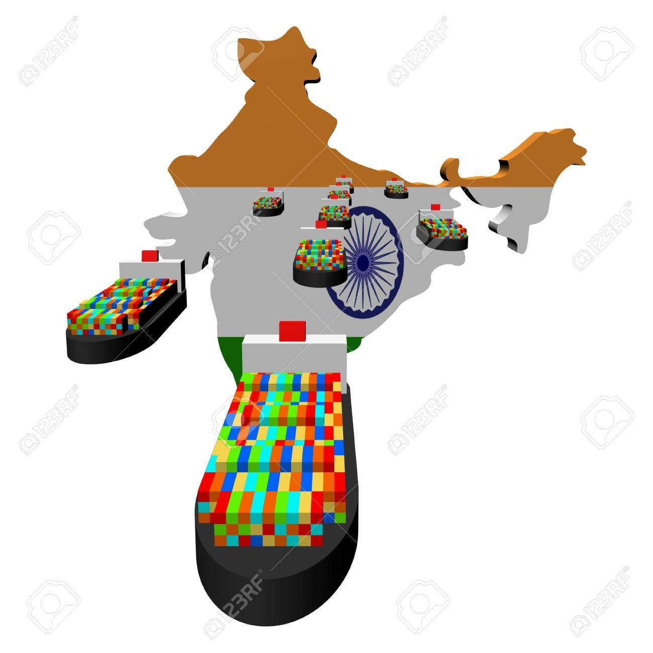 India Map Flag.India Map Flag With Container Ships Illustration Stock Photo