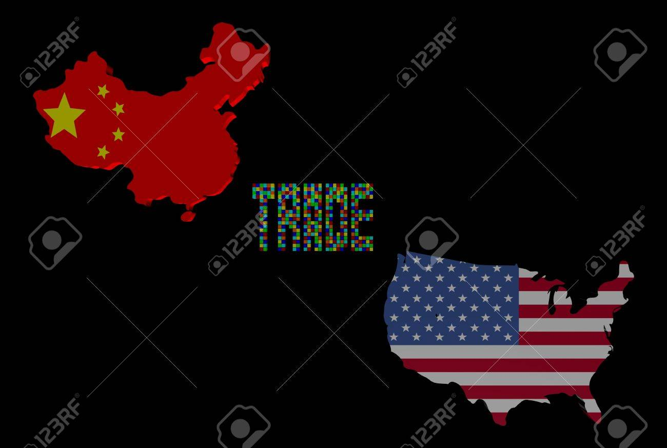 Trade Text With China And USA Map Flags Illustration Stock Photo - China usa map