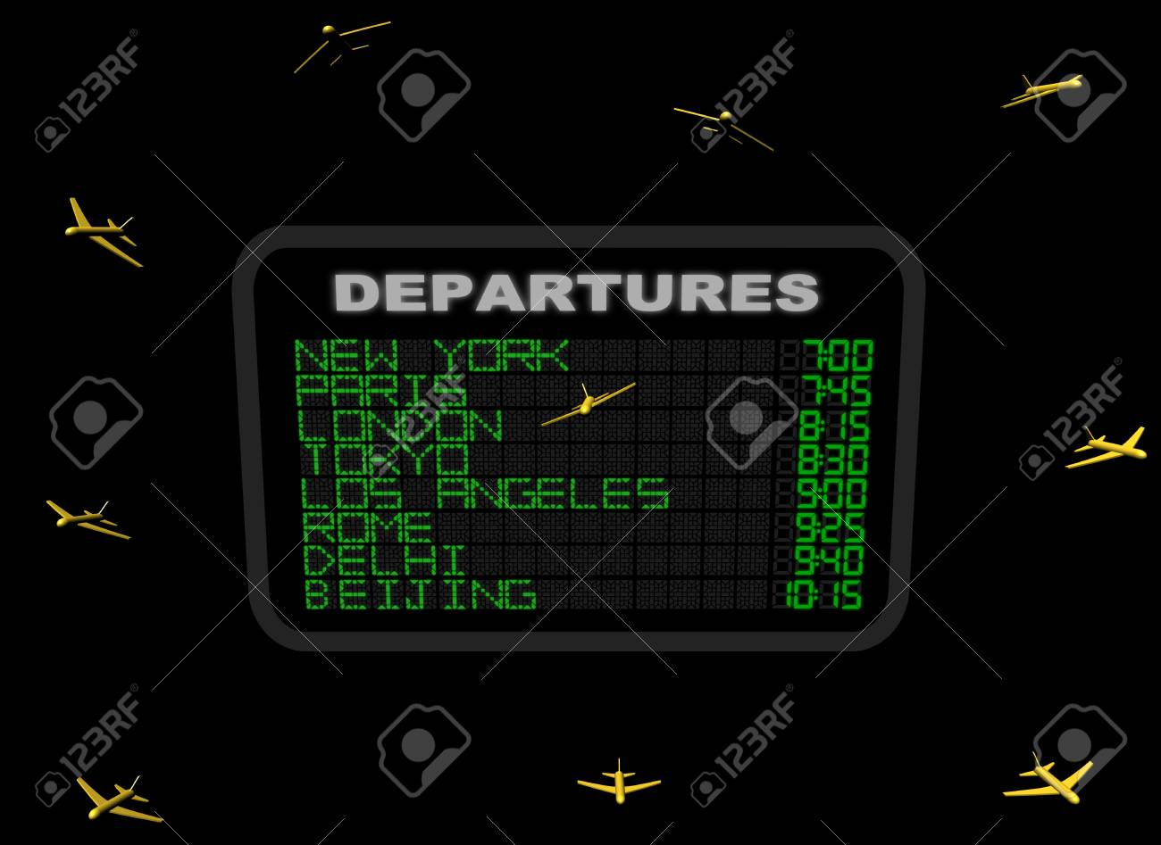 International Airport Departure board with abstract planes illustration Stock Illustration - 10232368