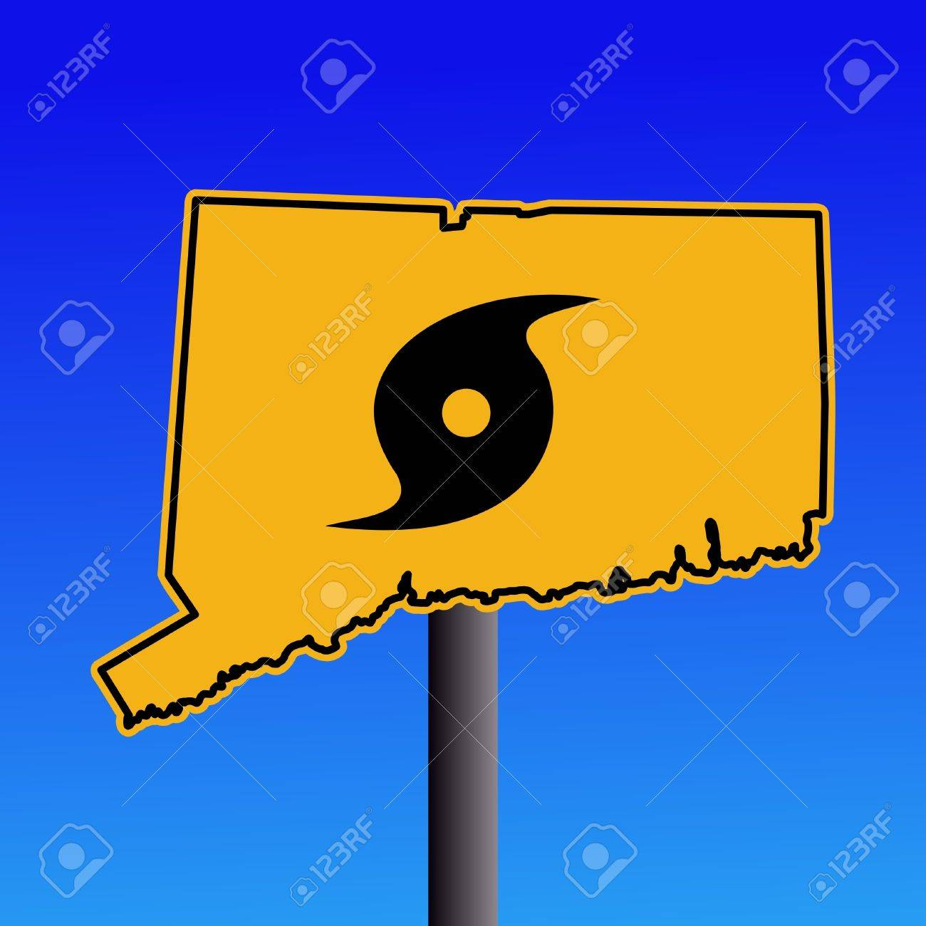 Connecticut Warning Sign With Hurricane Symbol Illustration Stock