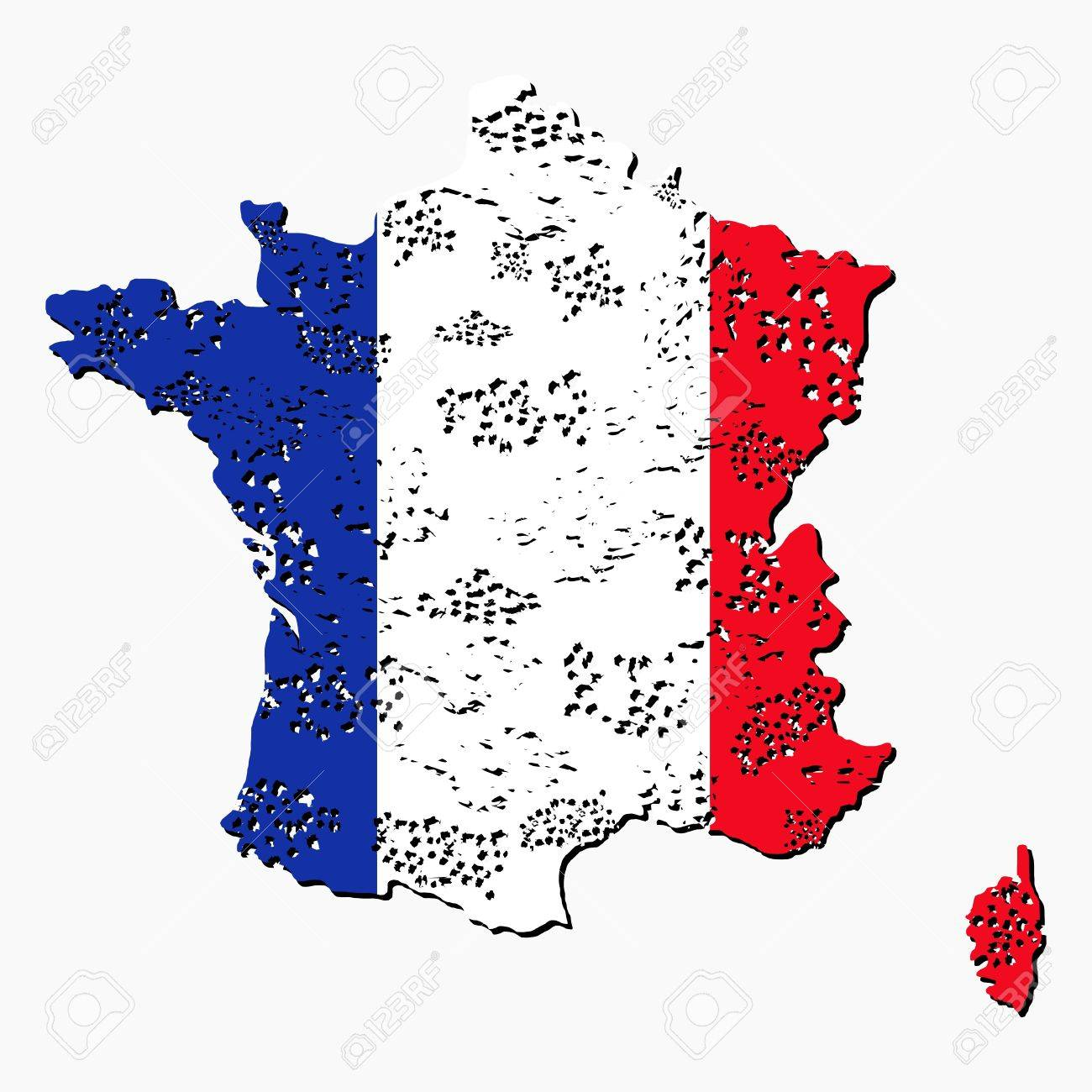 France Map Flag.Grunge France Map Flag With Shadow Illustration Stock Photo Picture
